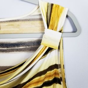 Dana Buchman Tops - Dana Buchman Yellow Striped Sleeveless Top Size L